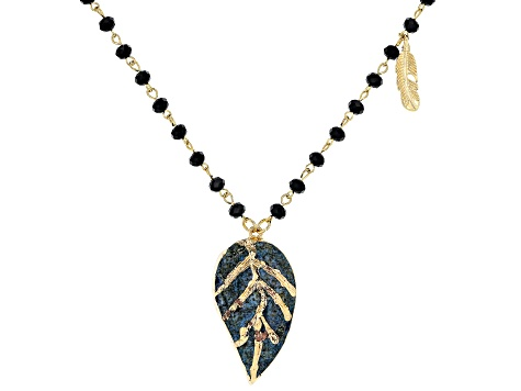 Gold Tone Black Beaded Leaf Necklace