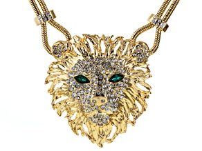 White Crystal Green Crystal Gold Tone Lion Necklace