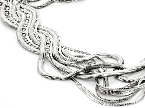 White Crystal Silver Tone Braided Necklace