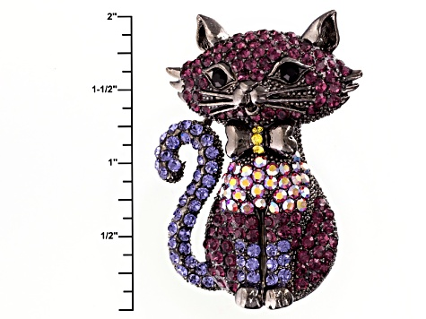 Multicolor Swarovski Elements ™ Cat Brooch