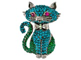 Multicolor Swarovski Elements ™, Gunmetal Tone, Cat Brooch