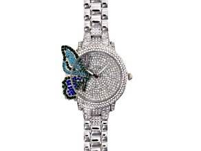 Multicolor Crystal Silver Tone Butterfly Watch