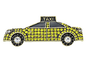 Multicolor Crystal Antiqued Gold Tone Nyc Taxi Brooch