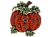 Multicolor Crystal Antiqued Gold Tone Pumpkin Brooch