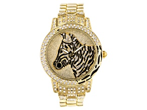 White Crystal Black Enamel Yellow Zebra Watch