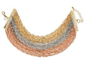Gold Tone Silver Tone Rose Tone Multi Chain Bracelet
