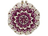 Pink Crystal White Crystal Gold Tone Floral Clutch With Chain