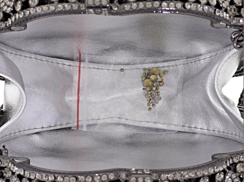 Gray Crystal Gunmetal Tone Floral Clutch With Chain