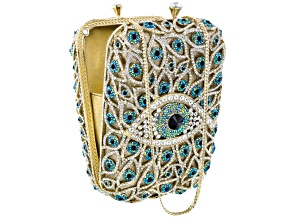 Multicolor Crystal Gold Tone Eye Clutch With Chain
