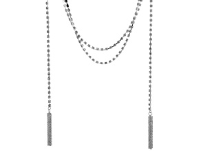 White Crystal Silver Tone Convertible Necklace