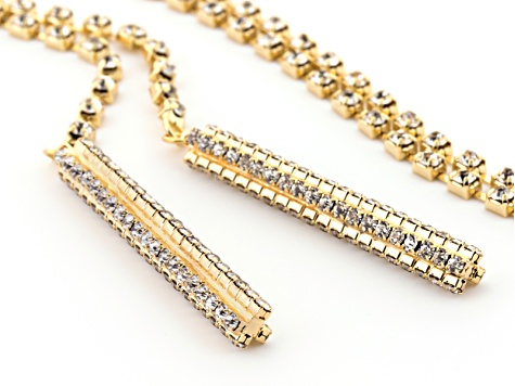 White Crystal Gold Tone Convertible Necklace