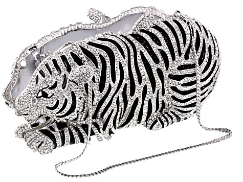 Multicolor Crystal White And Black Enamel Silver Tone Tiger Clutch With Chain