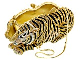Multicolor Crystal White And Black Enamel Gold Tone Tiger Clutch With Chain