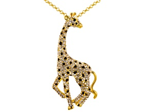 White Crystal Black Crystal Brown Enamel Gold Tone Giraffe Pin/Pendant With Chain