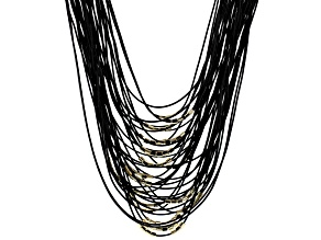 Gold Tone Bead Black Chord Multi Layer Necklace