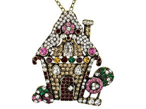 Multicolor Crystal Antiqued Gold Tone Gingerbread House Pin/Pendant With Chain