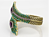 Multicolor Crystal Antiqued Gold Tone Feather Bracelet