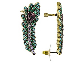 Multicolor Crystal Antiqued Gold Tone Feather Ear Climbers