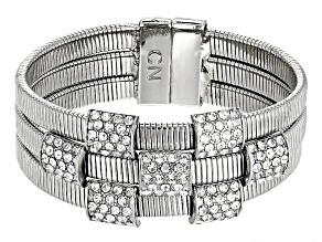White Crystal Silver Tone Bracelet