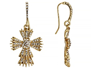 White Crystal Gold Tone Cross Earrings