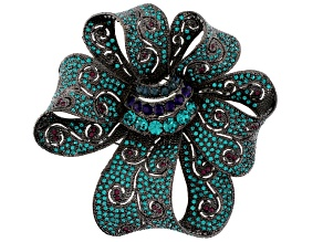 Multicolor Swarovski Elements ™ Gunmetal Tone Bow Brooch