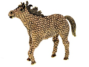 Champagne Iridescent And Black Swarovski Elements ™ Antiqued Gold Tone Horse
