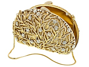 White Crystal Gold Tone Clutch