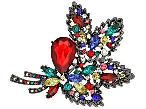 Multicolor Crystal Gunmetal Tone Brooch