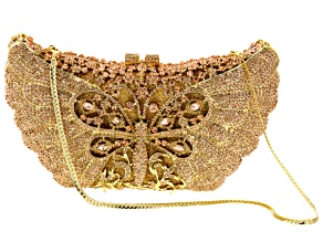 Champagne Crystal White Crysal Gold Tone Butterfly Clutch
