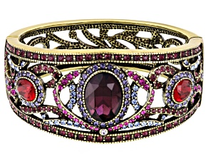 Multicolor Crystal Antiqued Gold Tone Bracelet
