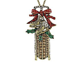 Multicolor Crystal Andtiqued Gold Tone Sled Pin/Pendant With Chain