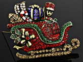 Multicolor Crystal Antiqued Gold Tone Sleigh Brooch