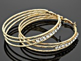 White Crystal Gold Tone Stud And Hoop Earring Set Of 6