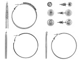 White Crystal Silver Tone Stud And Hoop Earring Set Of 6