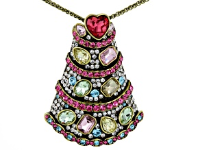 Multicolor Crystal Antiqued Gold Tone Birthday Cake Pin/Pendant With Chain