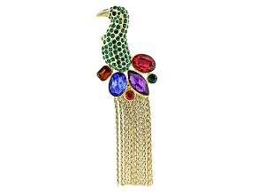 Multicolor Crystal Gold Tone Bird Brooch