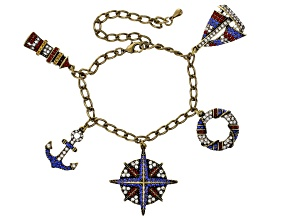 Multicolor Crystal Antiqued Gold Tone Nautical Charm Bracelet