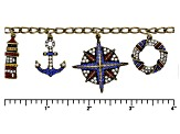 Multicolor Crystal Antiqued Gold Tone Nautical Charm Bracelet