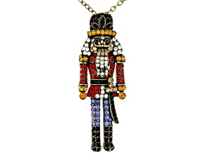 Multicolor Swarovski Elements ™ Antiqued Gold Tone Nutcracker Pendant With Chain