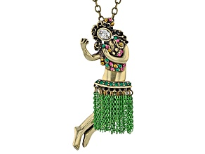Multicolor Crystal Antiqued Gold Tone Hula Dancer Pendant With Chain