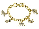 White Crystal Black Crystal Pearl Simulant Gold Tone Cat Charm Bracelet