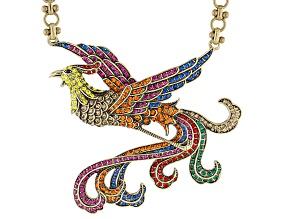 Multicolor Crystal Antiqued Gold Tone Phoenix Necklace