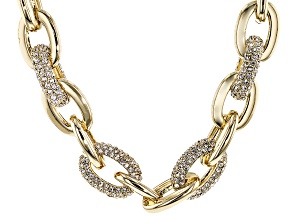 White Crystal Gold Tone Necklace