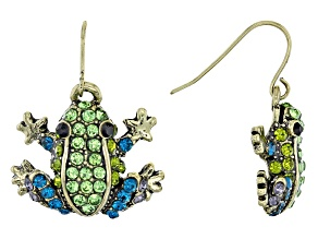Multicolor Crystal Antiqued Gold Tone Frog Dangle Earrings