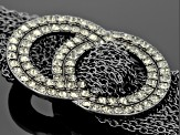 White Crystal Gunmetal Tone Multi Strand Love Knot Necklace