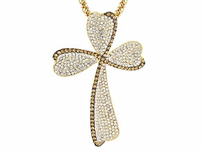 White Crystal Champagne Crystal Gold Tone Cross Pendant With Chain