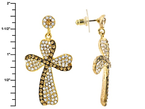 White And Champange Crystal Gold Tone Cross Earrings