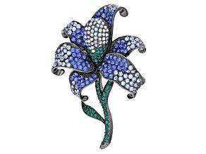 Multicolor Swarovski Elements ™ Gunmetal Tone Flower Pin/Pendant