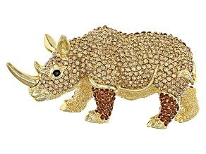 Champange And Brown Swarovski Elements ™ Gold Tone Rhino
