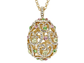 Multicolor Crystal Gold Tone Egg Necklace